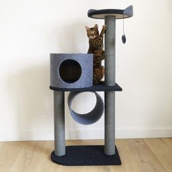 Rosewood Charcoal Felt Cat Double Tower Post (1.2m High)